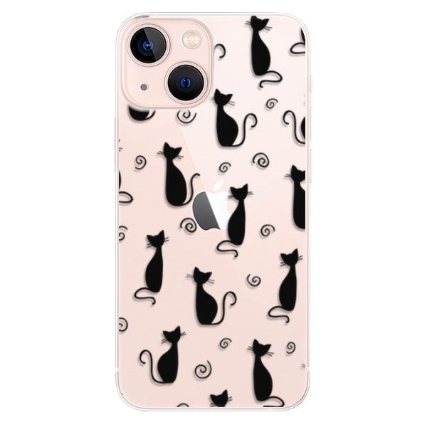 Odolné silikonové pouzdro iSaprio - Cat pattern 05 - black - iPhone 13 mini