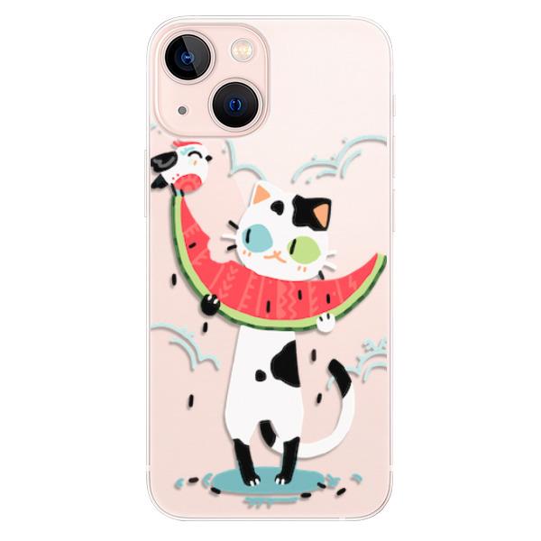 Odolné silikonové pouzdro iSaprio - Cat with melon - iPhone 13 mini