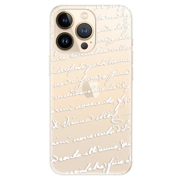 Odolné silikonové pouzdro iSaprio - Handwriting 01 - white - iPhone 13 Pro