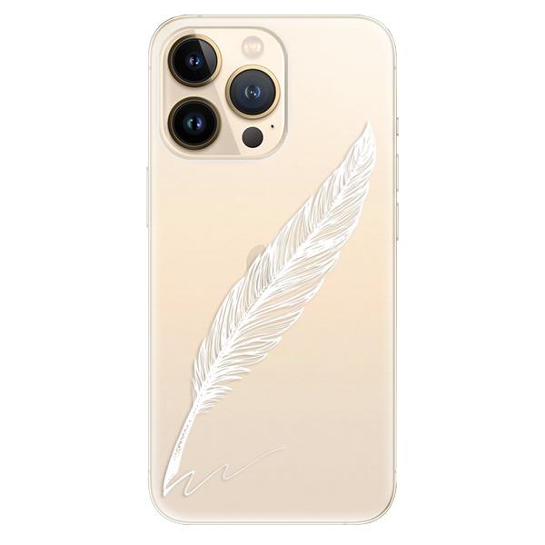 Odolné silikonové pouzdro iSaprio - Writing By Feather - white - iPhone 13 Pro