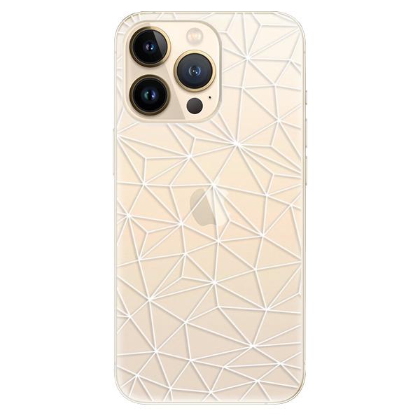 Odolné silikonové pouzdro iSaprio - Abstract Triangles 03 - white - iPhone 13 Pro Max