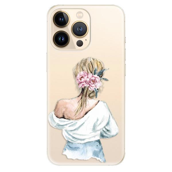 Odolné silikonové pouzdro iSaprio - Girl with flowers - iPhone 13 Pro Max