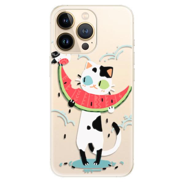 Odolné silikonové pouzdro iSaprio - Cat with melon - iPhone 13 Pro Max