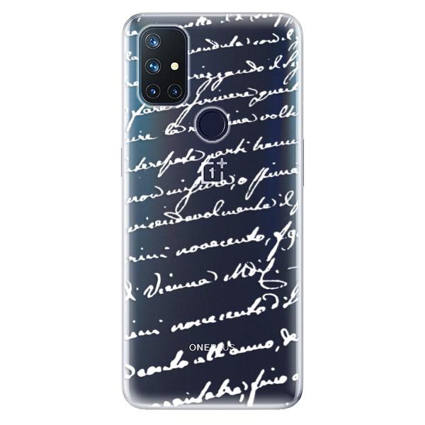 Odolné silikonové pouzdro iSaprio - Handwriting 01 - white - OnePlus Nord N10 5G