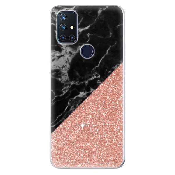 Odolné silikonové pouzdro iSaprio - Rose and Black Marble - OnePlus Nord N10 5G