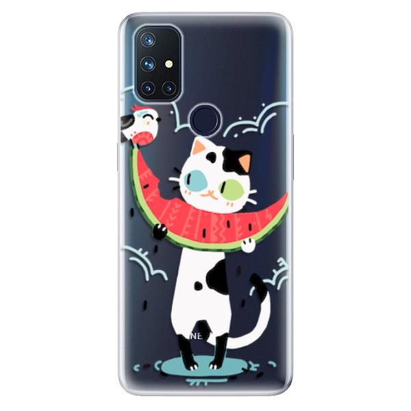 Odolné silikonové pouzdro iSaprio - Cat with melon - OnePlus Nord N10 5G