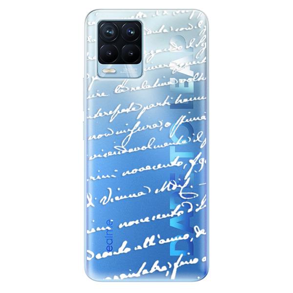 Odolné silikonové pouzdro iSaprio - Handwriting 01 - white - Realme 8 / 8 Pro