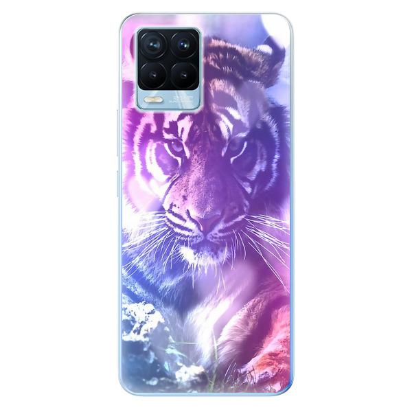 Odolné silikonové pouzdro iSaprio - Purple Tiger - Realme 8 / 8 Pro