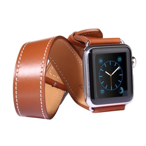Kožený pásek / řemínek Double Circle pro Apple Watch 42mm hnědý