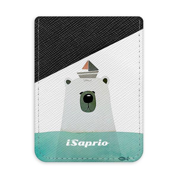 Pouzdro na kreditní karty iSaprio - Bear with Boat - tmavá nalepovací kapsa