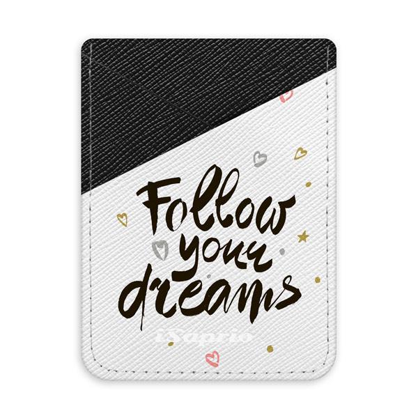 Pouzdro na kreditní karty iSaprio - Follow Your Dreams - black - tmavá nalepovací kapsa