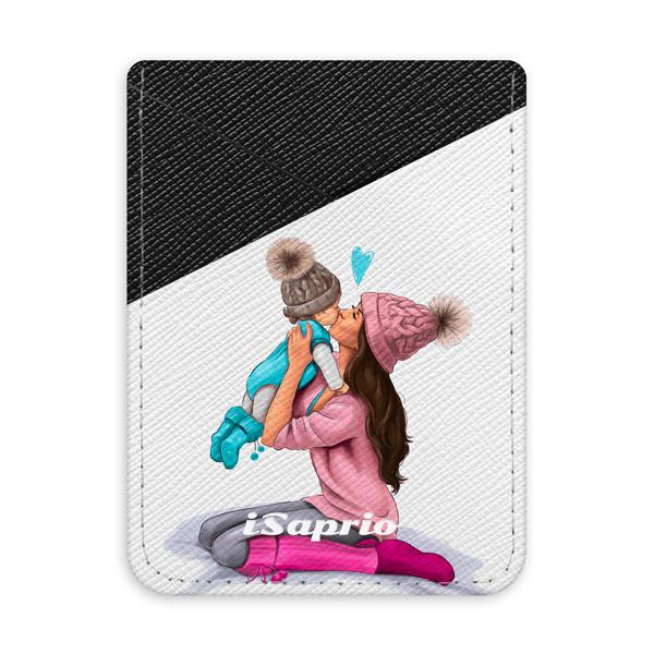 Pouzdro na kreditní karty iSaprio – Kissing Mom – Brunette and Boy – tmavá nalepovací kapsa